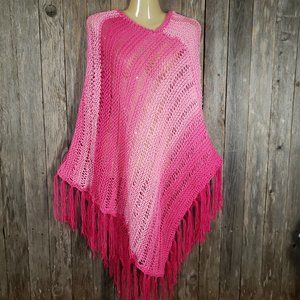 Pink Ombre Hand Knitted Poncho Sweater Boho NEW